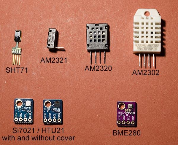 Compare DHT22, AM2302, AM2320, AM2321, SHT71, HTU21D, Si7021