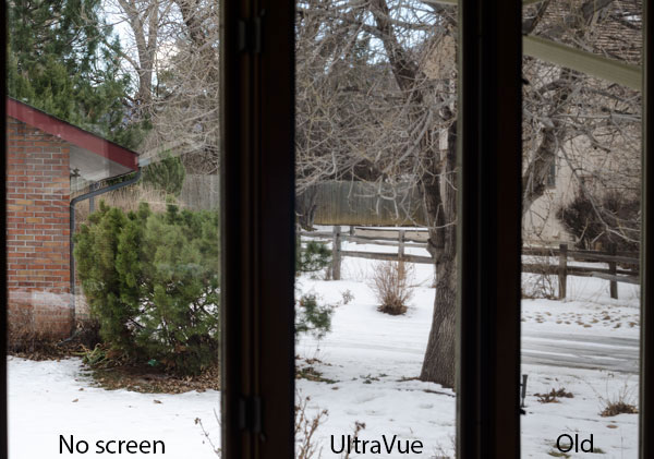 Wide view of three windows, with and without each of the screens installed
